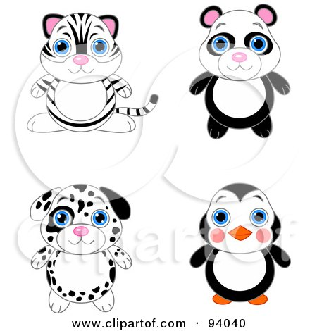 Royalty-Free (RF) Clipart Illustration of a Digital Collage Of A Cute White Tiger, Panda, Dalmatian Puppy And Penguin by Pushkin