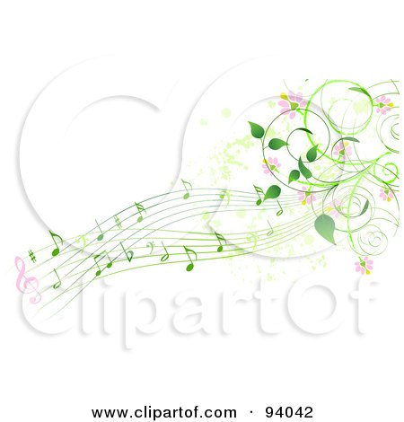 Royalty-Free (RF) Clipart Illustration of a Background Of Green Music Notes, Pink Flowers And Vines by Pushkin