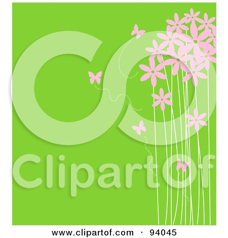 Royalty-Free (RF) Clipart Illustration of Pink Butterflies And Tall Flowers Over Green by Pushkin