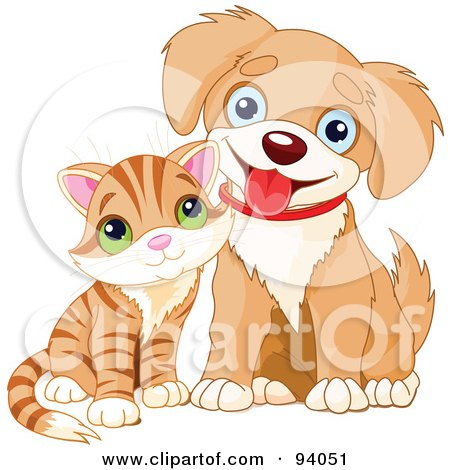 Royalty-Free (RF) Clipart Illustration of a Adorable Striped Kitten Beside A Happy Little Puppy by Pushkin