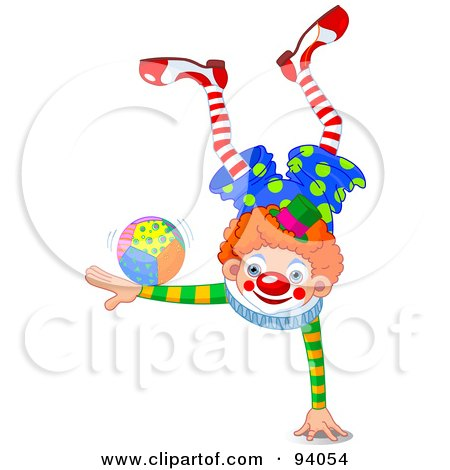 Royalty-Free (RF) Clipart Illustration of a Clown Balanced On One Hand With A Ball On An Arm by Pushkin