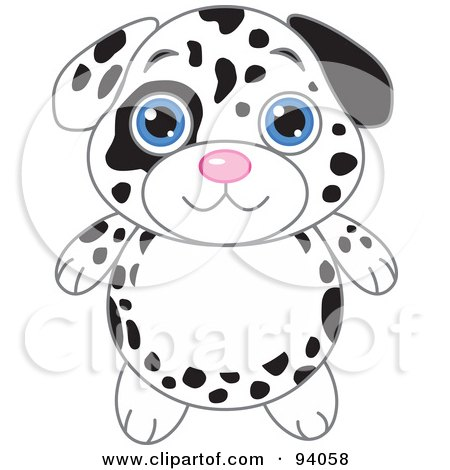Royalty-Free (RF) Clipart Illustration of a Cute Dalmatian Puppy With Big Blue Eyes by Pushkin