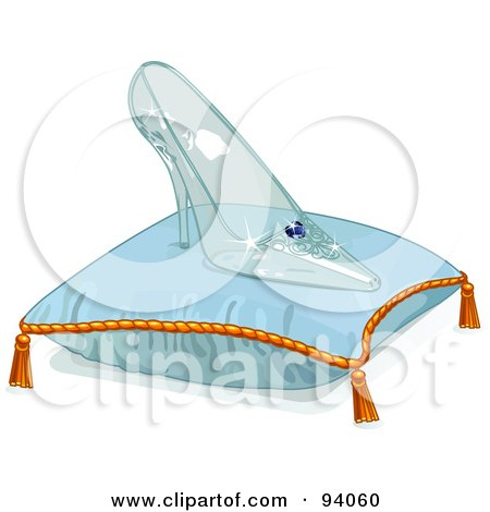 Royalty-Free (RF) Clipart Illustration of a Glass Slipper On A Blue Pillow by Pushkin