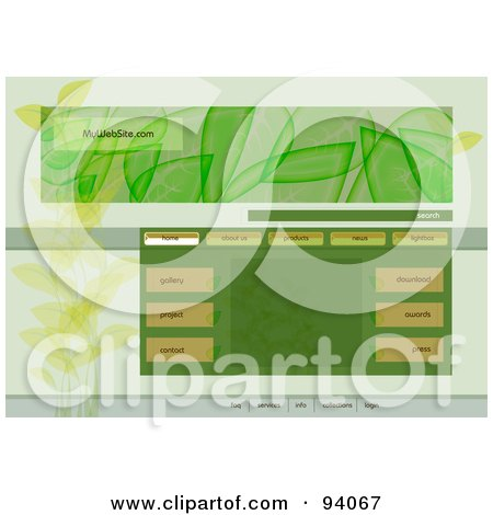 Royalty-Free (RF) Clipart Illustration of an Ecology Website Design Template With Navigation Buttons And Leaves by MilsiArt