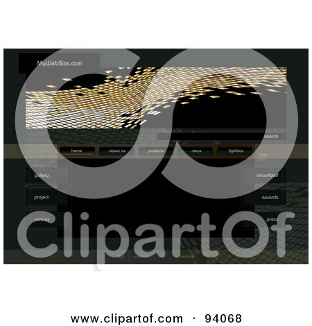 Royalty-Free (RF) Clipart Illustration of a Website Design Template With Navigation Buttons And Gold Mosaic Tiles by MilsiArt
