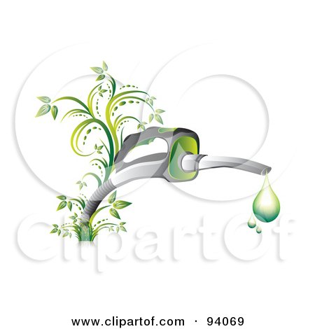 Royalty-Free (RF) Clipart Illustration of Droplets Of Green Gasoline Dripping From A Fuel Nozzle With Vines  by MilsiArt