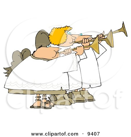 Two Male And One Female Angels Playing Horns Clipart Illustration