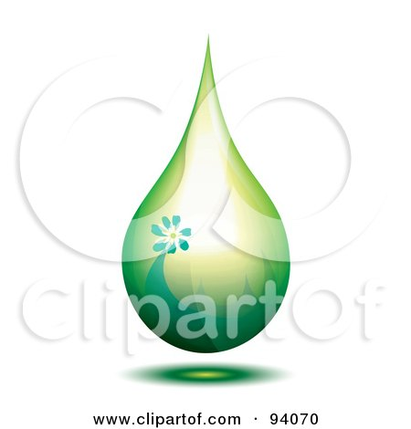 Royalty-Free (RF) Clipart Illustration of a Green Oil Droplet With Grass And A Flower by MilsiArt