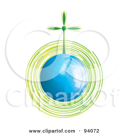 Royalty-Free (RF) Clipart Illustration of a Spinning Green Wind Turbine On A Shiny Blue Globe by MilsiArt