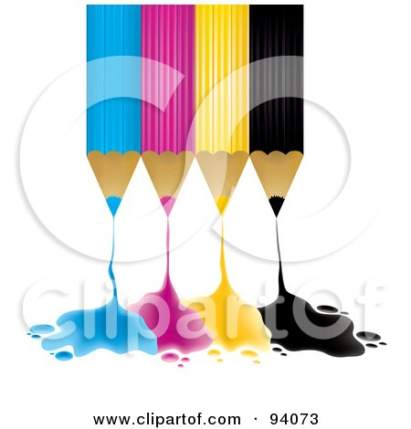 Royalty-Free (RF) Clipart Illustration of Upside Down Blue, Pink, Yellow And Black Pencils Dripping Ink by MilsiArt