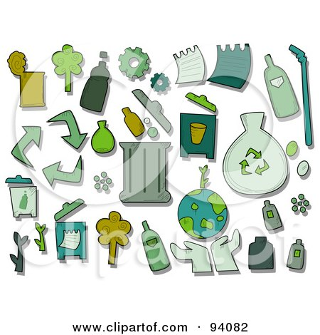 Royalty-Free (RF) Clipart Illustration of a Digital Collage Of A Group Of Recycle Icons And Items by BNP Design Studio