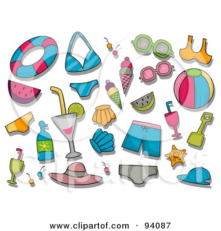 Royalty-Free (RF) Clipart Illustration of a Digital Collage Of A Group Of Summer Icons And Items by BNP Design Studio