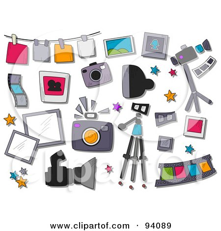Royalty-Free (RF) Clipart Illustration of a Digital Collage Of A Group Of Photography Icons And Items by BNP Design Studio