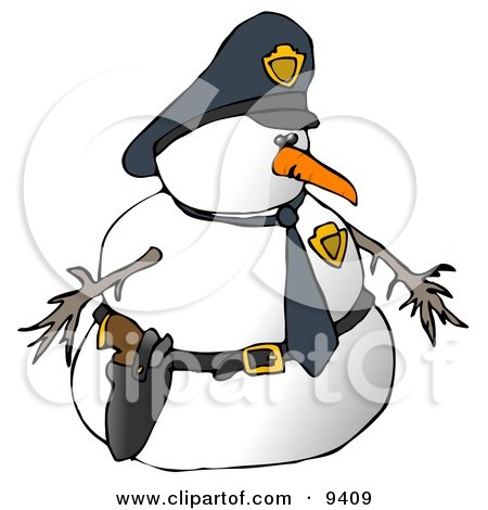 Snowman Police Officer Clipart Illustration by djart