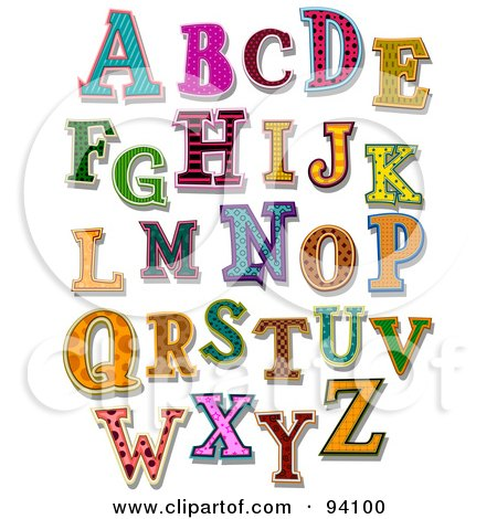Royalty-Free (RF) Clipart Illustration of a Digital Collage Of Colorfully Patterned Capital Alphabet Letters by BNP Design Studio