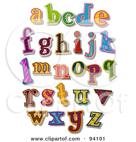 Royalty-Free (RF) Clipart Illustration of a Digital Collage Of Colorfully Patterned Lowercase Alphabet Letters by BNP Design Studio