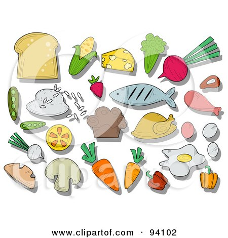 Royalty-Free (RF) Clipart Illustration of a Digital Collage Of A Group Of Nutrition Icons And Items by BNP Design Studio