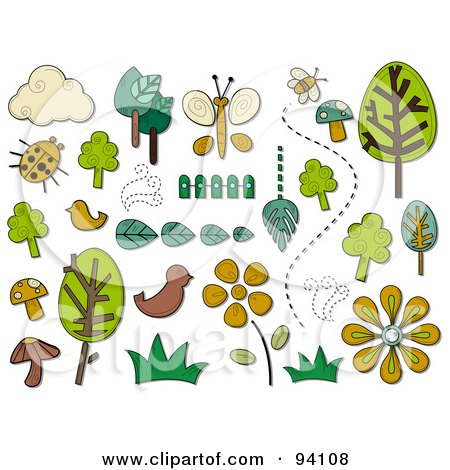 Royalty-Free (RF) Clipart Illustration of a Digital Collage Of A Group Of Nature Icons And Items by BNP Design Studio