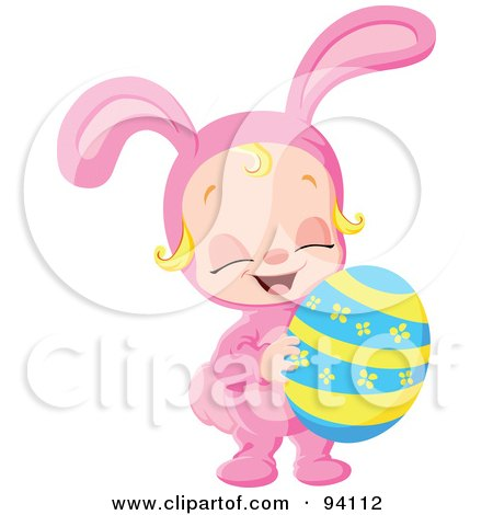 Royalty-Free (RF) Clipart Illustration of a Little Girl In A Pink Bunny Costume, Holding An Easter Egg by yayayoyo