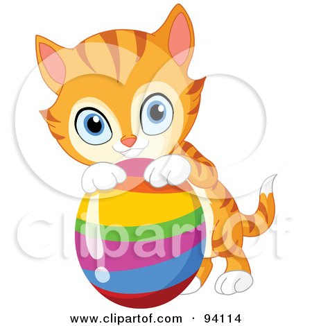 Royalty-Free (RF) Clipart Illustration of a Cute Orange Kitten Resting His Paws On A Rainbow Easter Egg by yayayoyo