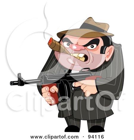 Royalty-Free (RF) Clipart Illustration of a Mean Mafia Ganster Holding A Gun And Smoking A Cigar by yayayoyo