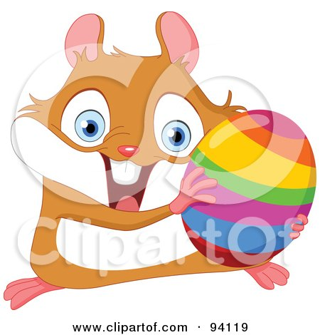 Royalty-Free (RF) Clipart Illustration of a Cute, Energetic Hamster Holding A Rainbow Easter Egg by yayayoyo