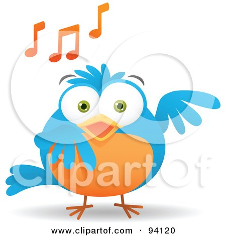 Royalty-Free (RF) Clipart Illustration of a Musical Blue And Orange Bird Singing, With Music Notes by Qiun