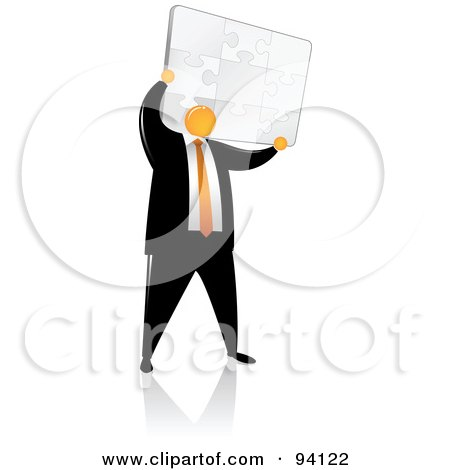 Royalty-Free (RF) Clipart Illustration of an Orange Faceless Businessman Holding Up A Puzzle by Qiun