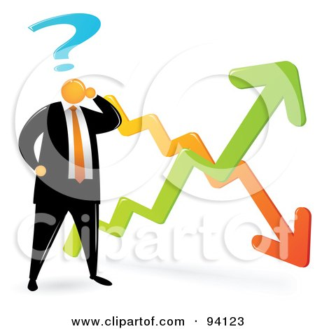 Royalty-Free (RF) Clipart Illustration of an Orange Faceless Businessman Confused By The Economic Ups And Downs by Qiun