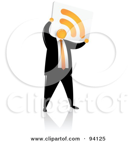 Royalty-Free (RF) Clipart Illustration of an Orange Faceless Businessman With An RSS Head by Qiun