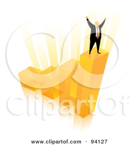 Royalty-Free (RF) Clipart Illustration of an Orange Faceless Businessman Celebrating On The Top Of An Orange Bar Graph by Qiun