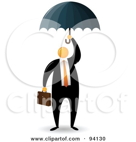 Royalty-Free (RF) Clipart Illustration of an Orange Faceless Businessman Protected Under An Umbrella by Qiun
