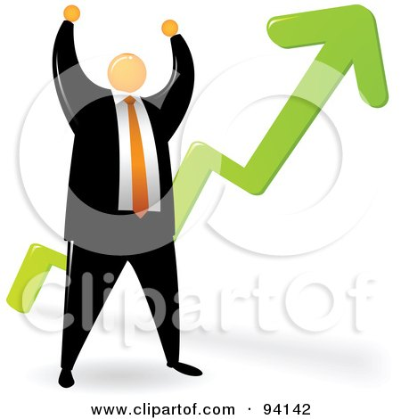 Royalty-Free (RF) Clipart Illustration of an Orange Faceless Businessman Celebrating By A Growth Arrow by Qiun