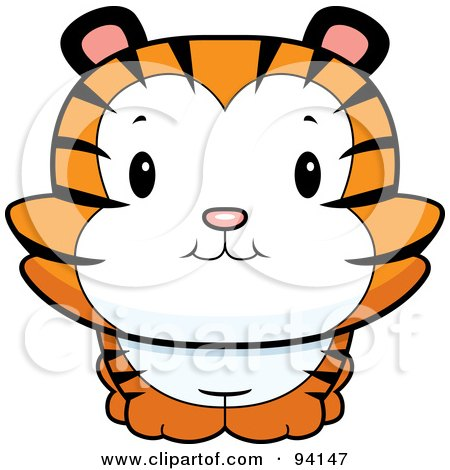 Royalty-Free (RF) Clipart Illustration of a Cute Tiger Cub Smiling Upwards by Cory Thoman