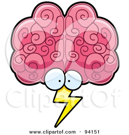 Royalty-Free (RF) Clipart Illustration of a Brain Face Storm With Lightning by Cory Thoman