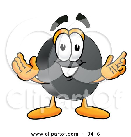 Clipart Picture of a Hockey Puck Mascot Cartoon Character With Welcoming Open Arms by Toons4Biz