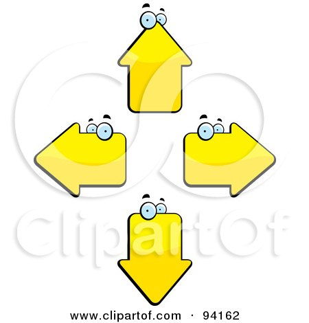 Royalty-Free (RF) Clipart Illustration of Four Yellow Arrow Heads Facing Different Directions by Cory Thoman