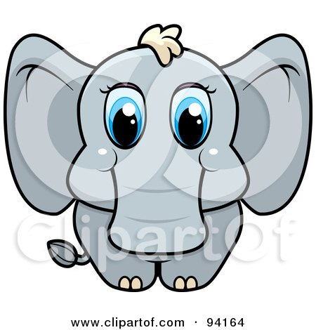 Royalty-Free (RF) Clipart Illustration of a Baby Elephant With Big Blue Eyes by Cory Thoman