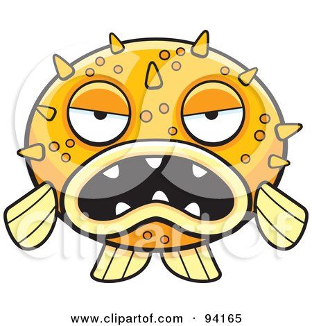 Royalty-Free (RF) Clipart Illustration of a Grumpy Orange Blowfish Facing Front by Cory Thoman