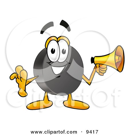 Clipart Picture of a Hockey Puck Mascot Cartoon Character Holding a Megaphone by Toons4Biz