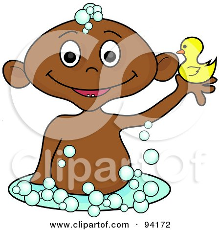 Royalty-Free (RF) Clipart Illustration of a Hispanic Baby Holding Up A Rubber Duck In A Bubble Bath by Pams Clipart