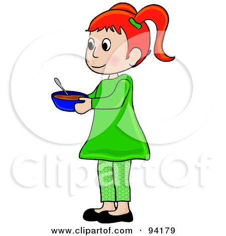 Royalty-Free (RF) Clipart Illustration of a Little Red Haired Girl Standing And Holding A Bowl by Pams Clipart