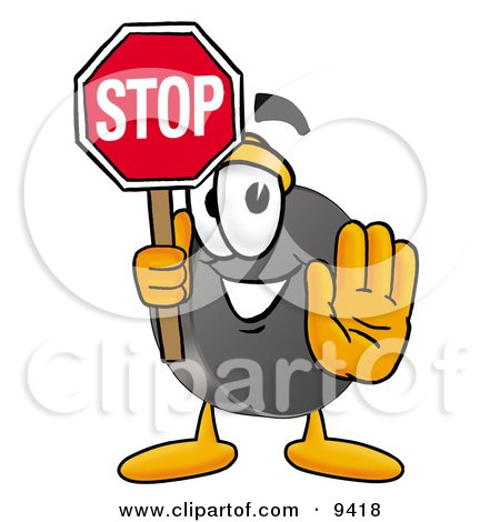 Clipart Picture of a Hockey Puck Mascot Cartoon Character Holding a Stop Sign by Toons4Biz
