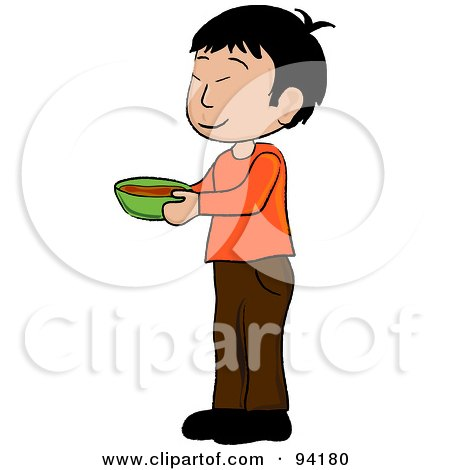 Royalty-Free (RF) Clipart Illustration of a Little Asian Boy Standing And Holding A Bowl by Pams Clipart