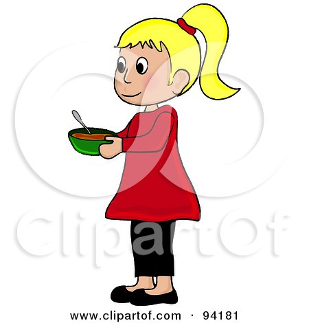 Royalty-Free (RF) Clipart Illustration of a Little Caucasian Girl Standing And Holding A Bowl by Pams Clipart