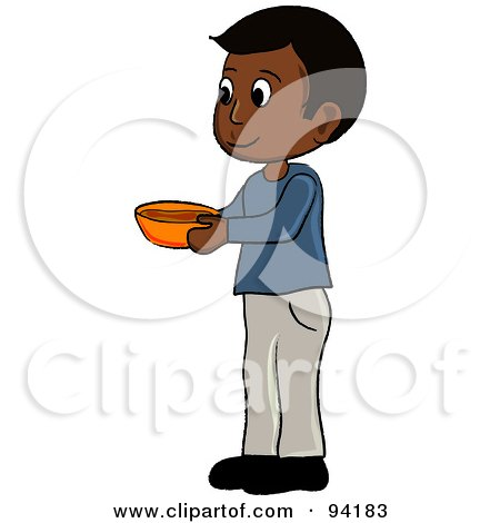 Royalty-Free (RF) Clipart Illustration of a Little Indian Boy Standing And Holding A Bowl by Pams Clipart