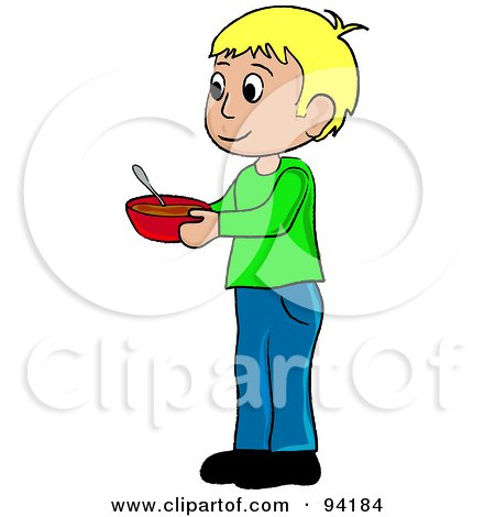 Royalty-Free (RF) Clipart Illustration of a Little Caucasian Boy Standing And Holding A Bowl by Pams Clipart