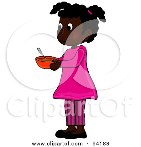 Royalty-Free (RF) Clipart Illustration of a Little African American Girl Standing And Holding A Bowl by Pams Clipart