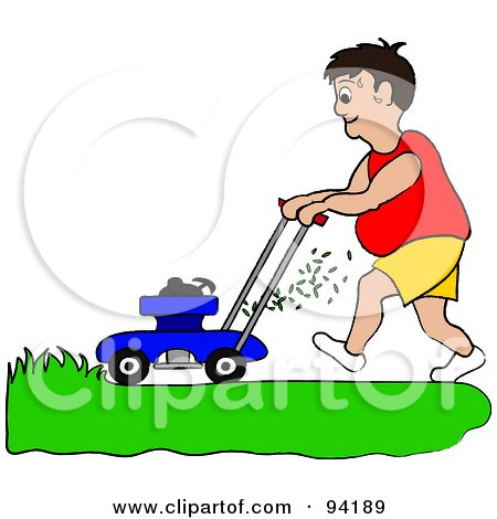 Royalty-Free (RF) Clipart Illustration of a Fat Man Mowing A Lawn With A Mower by Pams Clipart