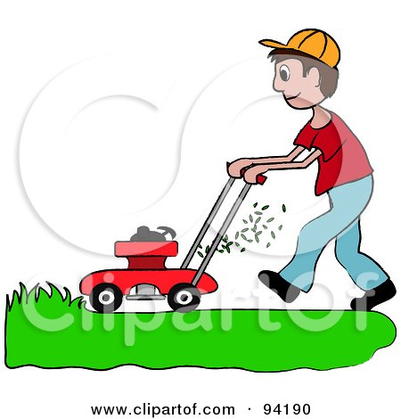 Royalty-Free (RF) Clipart Illustration of a Brunette Caucasian Boy Mowing A Lawn With A Mower by Pams Clipart